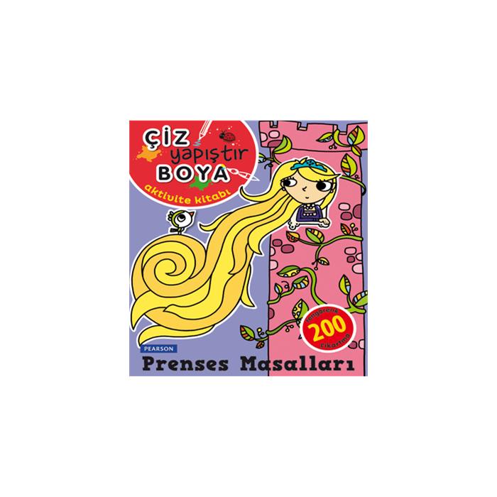 Çiz, Yapıştır, Boya Aktivite Kitabı - Prenses Masalları