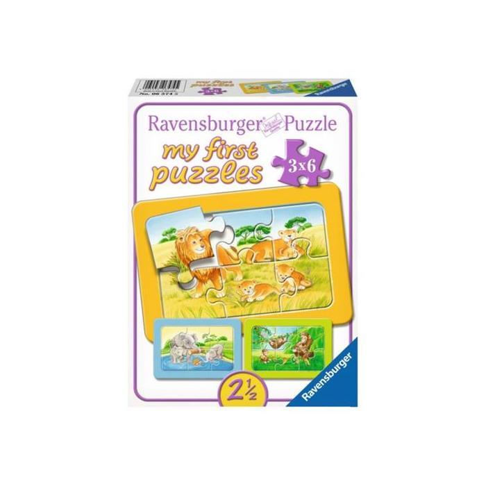 Ravensburger İlk Puzzle - Fil, Maymun, Aslan - 3x6P Puzzle