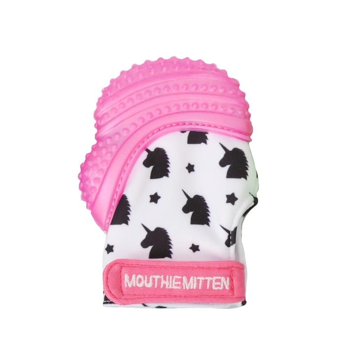 Mouthie Mitten Diş Kaşıyıcı Eldiven - Pembe Atlı