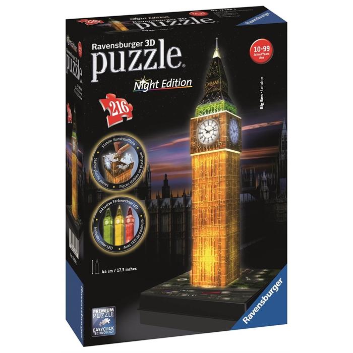 Ravensburger 3 Boyutlu 216 Parçalı Plastik Puzzle Işıklı Big Ben - 125883