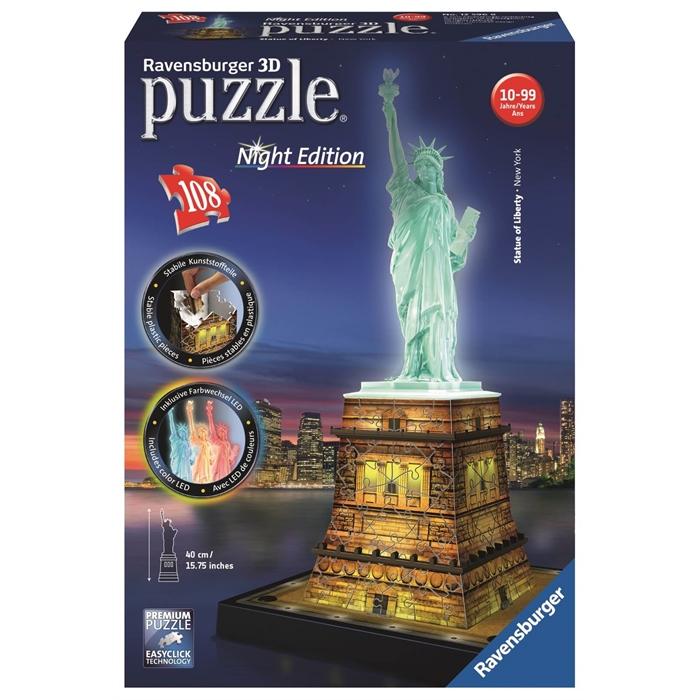 Ravensburger 3 Boyutlu 108 Parçalı Plastik Puzzle Özgür Anıtı Night - 125968