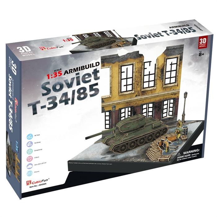 Cubic Fun 3D 213 Parça Puzzle Soviet T34/85 Dioroma Set