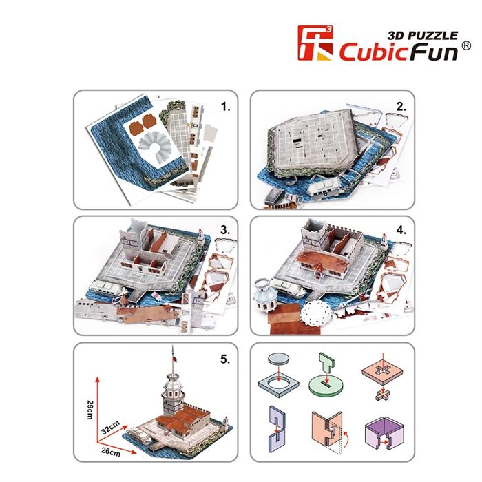 Cubic Fun 3D 66 Parça Puzzle Kız Kulesi