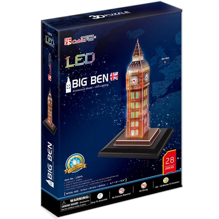 Cubic Fun 3D 28 Parça Puzzle Big Ben Saat Kulesi - İngiltere (Led Işıklı)