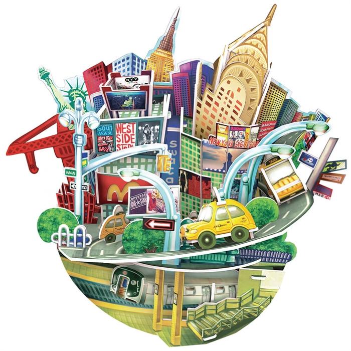 Cubic Fun 3D 55 Parça Puzzle New York Şehir Kompozisyonu