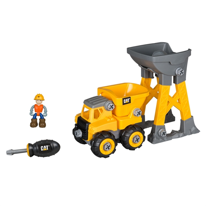 CAT Küçük Operatör Sök Tak İnşaat Seti Dump Truck İş Makinesi