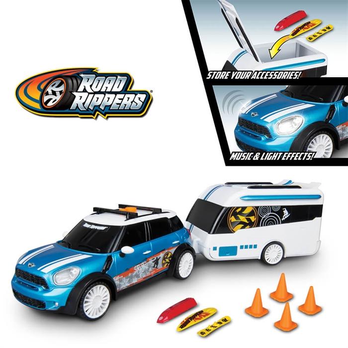 Road Rippers Mini Cooper C Sesli Işıklı Karavanlı Araba Oyun Seti