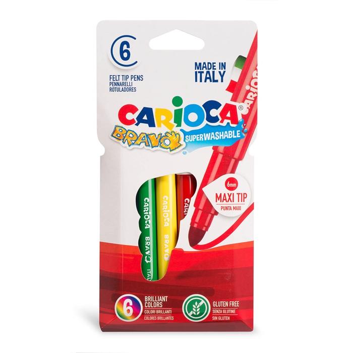 Carioca Bravo Süper Yıkanabilir Kalın Uçlu Keçeli Boya Kalemi 6'lı