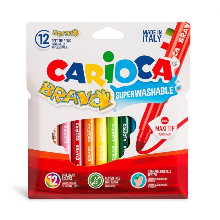 Carioca Bravo Süper Yıkanabilir Kalın Uçlu Keçeli Boya Kalemi 12'li