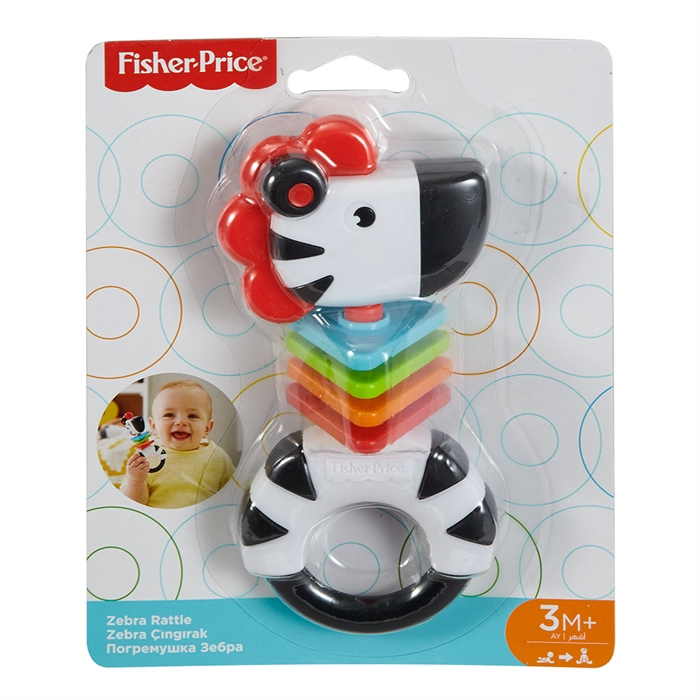 Fisher Price Sevimli Arkadaş Dişlik ve Çıngırak - Zebra