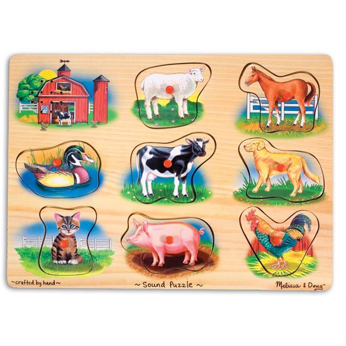 Melissa and Doug Ahşap Sesli Yapboz - Çiftlik Hayvanları
