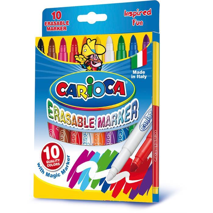 Carioca Silinebilir Sihirli Keçeli Kalemler (9 Renk + 1 Düzeltici Beyaz Kalem)
