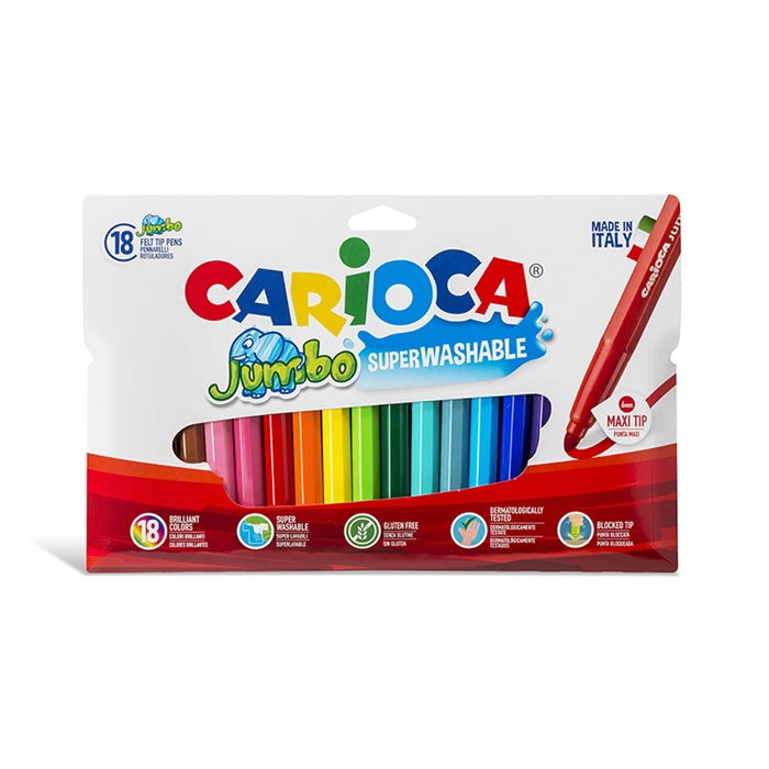 Carioca Jumbo Yıkanabilir Keçeli Boya Kalemi 18'li