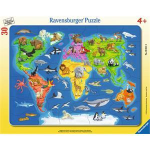 Ravensburger Hayvanlar Dünya Haritası - 30 Parça B. Çerçeveli