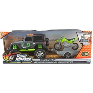 Road Rippers Sesli ve Işıklı Jeep Wrangler ve Kawasaki KLX Motorsiklet Araç Seti
