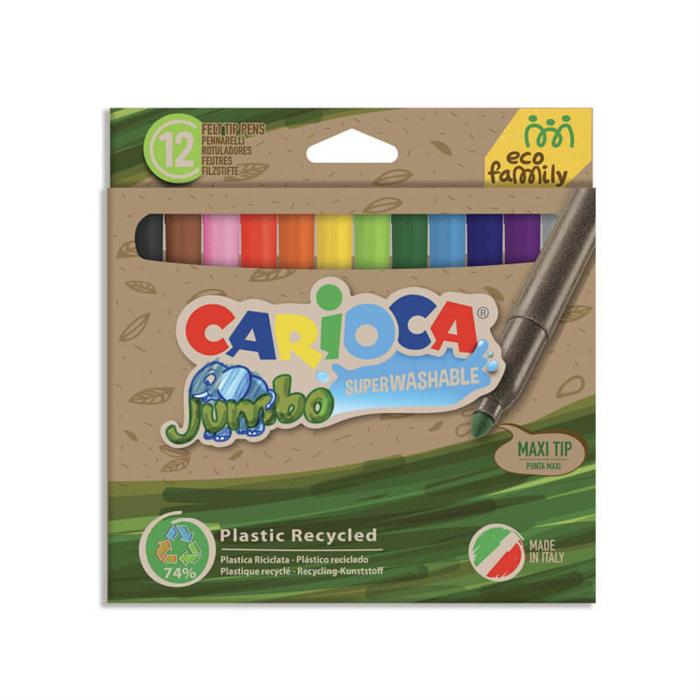 Carioca Ecofamily Jumbo Süper Yıkanabilir Keçeli Boya Kalemi 12'li