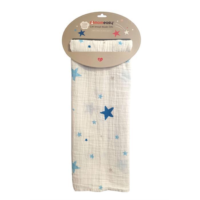 Momeasy Müslin Örtü 100x120cm - Mavi Yıldız