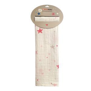 Momeasy Müslin Örtü 100x120cm - Pembe Yıldız