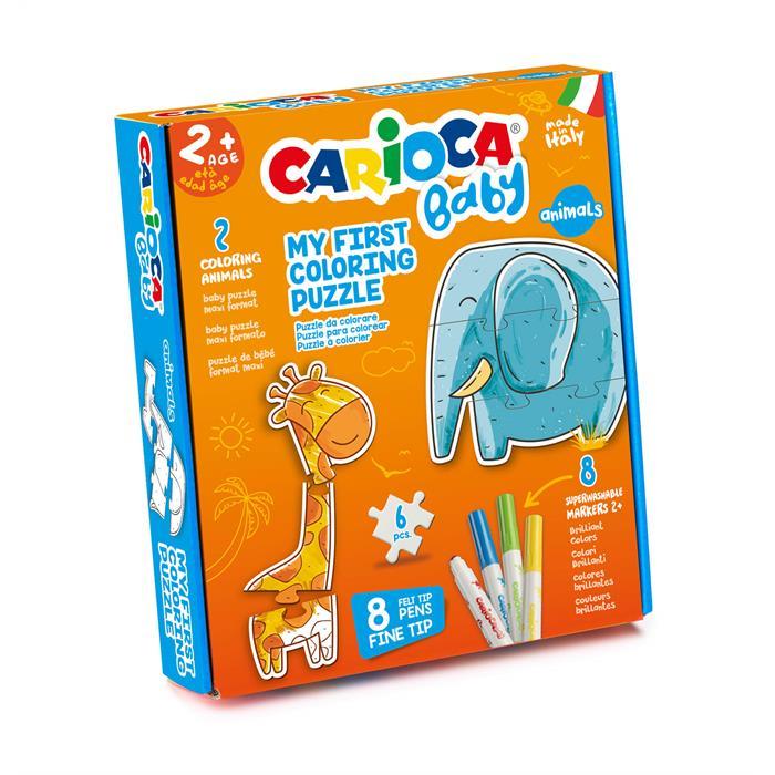 Carioca Boyanabilir Bebek Yapboz - Hayvanlar (2 Adet 3 Parçalı Yapboz + 8 Adet Bebek Keçeli Kalem)