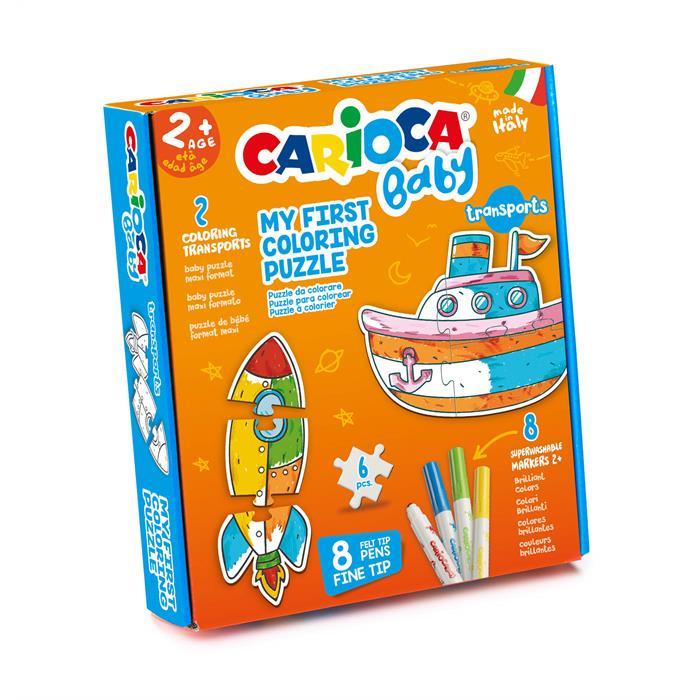 Carioca Boyanabilir Bebek Yapboz - Taşıtlar (2 Adet 3 Parçalı Yapboz + 8 Adet Bebek Keçeli Kalem)