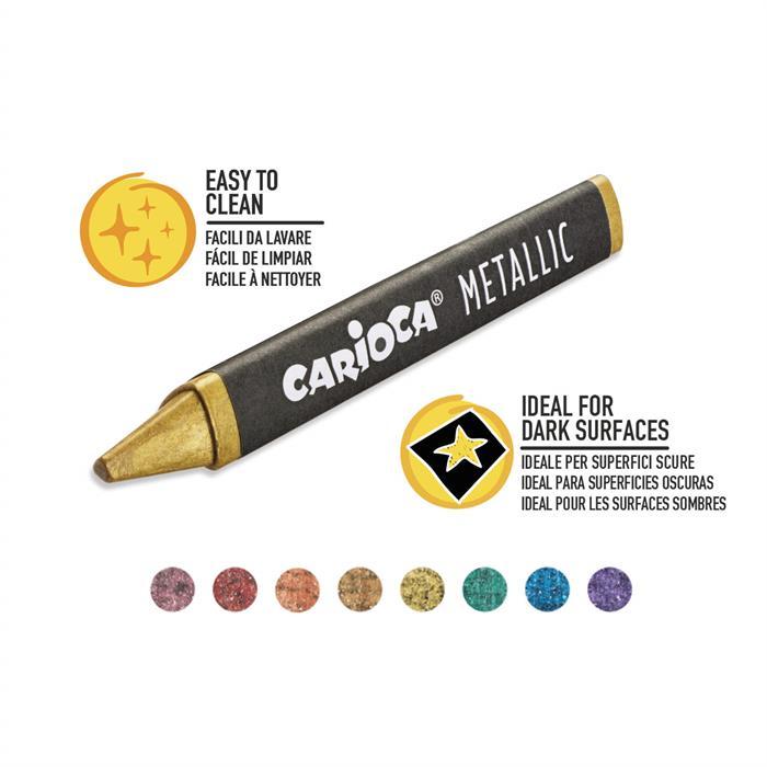 Carioca Jumbo Üçgen Mum Boya Kalemi Metalik 8'li