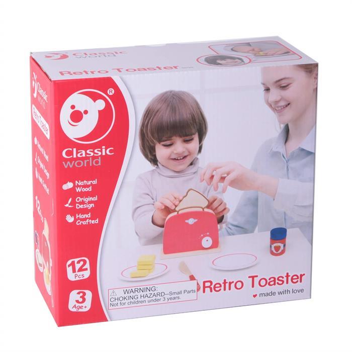 Classic World Ahşap Retro Kırmızı Tost Makinesi ve Tost Seti