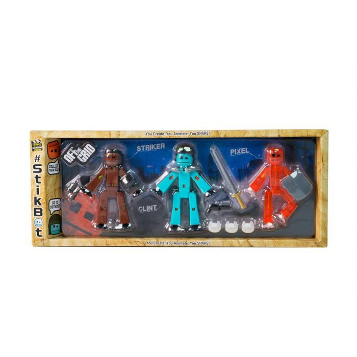 Stikbot Off The Grid 3'lü Paket - Striker, Clint, Pixel