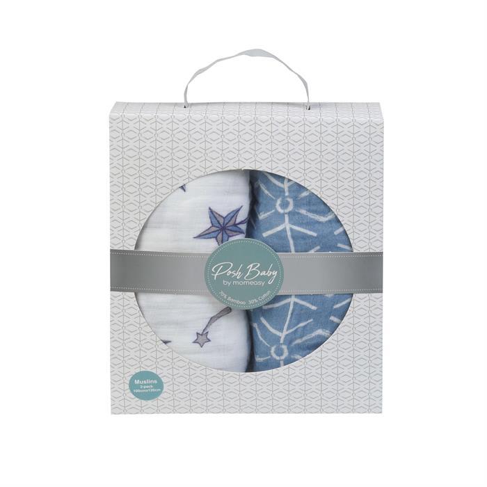 Posh Baby Müslin Bez 100x120cm 2'li Kutup Yıldızı/Mavi Geo