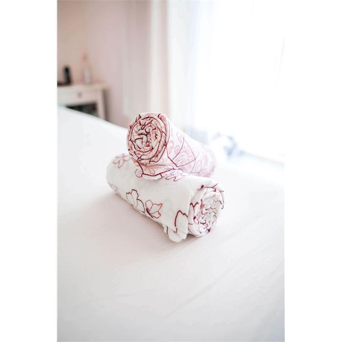 Posh Baby Müslin Bez 100x120cm 2'li Kelebek/Pembe Çiçek