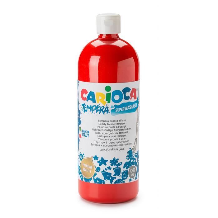Carioca Tempera Boya - Kırmızı (Süper Yıkanabilir) 1000ml - 1350gr / Plastik Şişede