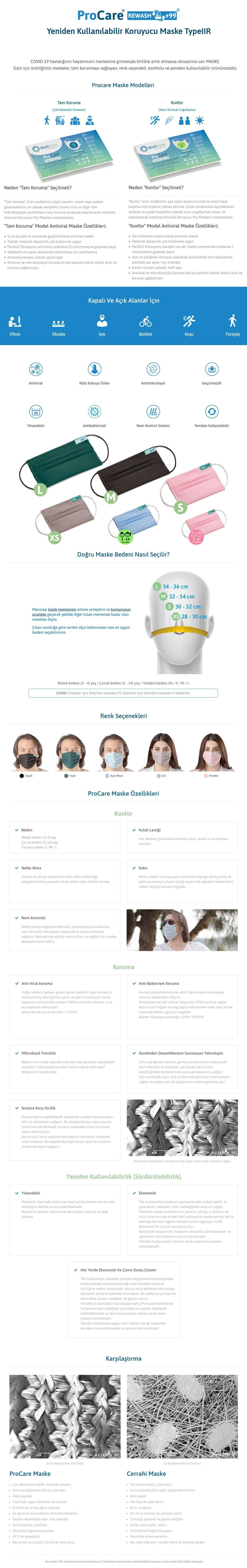Procare Antiviral Yıkanabilir Maske Detay